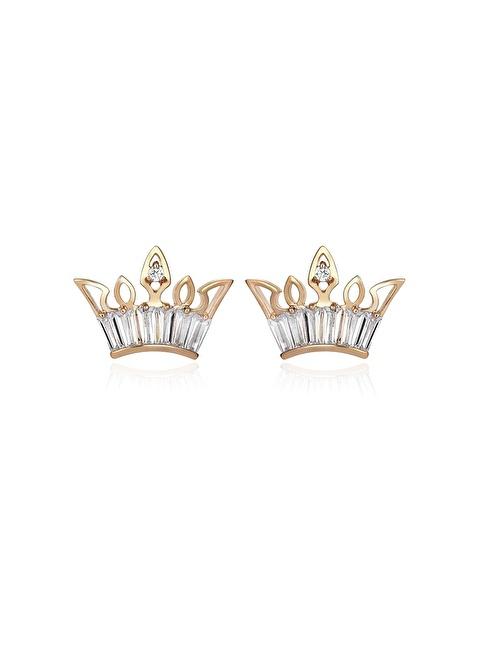Tophills Diamond Co. 1,20 Ct Pırlanta Efekt Altın Crown Trapes Sarı Küpe  Renkli